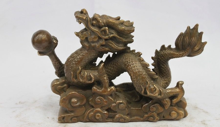 Chinese Feng Shui Fly Dragon Play Bead Old Bronze Copper Palace Decor Statue
