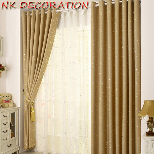 Nk Decoration Cute Cream Color 1 Panel Star Blackout Curtains For Bedroom Living Room Curtain Kid S