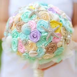 Невеста с цветами в руках, новое прибытие Романтический Ocean Beach тема Свадьба Невеста 'ы Букет, Морская Звезда перл shell свадебные букеты