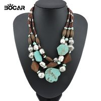 2017 Trendy Fashion Women S Multilayer Chunky Necklace Bohemia Style Big Stone Pendant Choker Statement Necklace