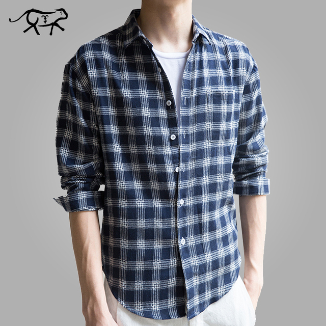 e53407d1 Men Shirt New Brand Fashion Check Men's Slim Fit Dress Shirt Male Long  Sleeves Cotton Plaid Casual Shirts Camisa Masculina M-3XL