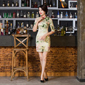 2016 Chinese Traditional Evening silk cloth Dresses Women Formal Satin Cheongsam Wedding Party Qipao Dress Vintage Vestido S-2XL