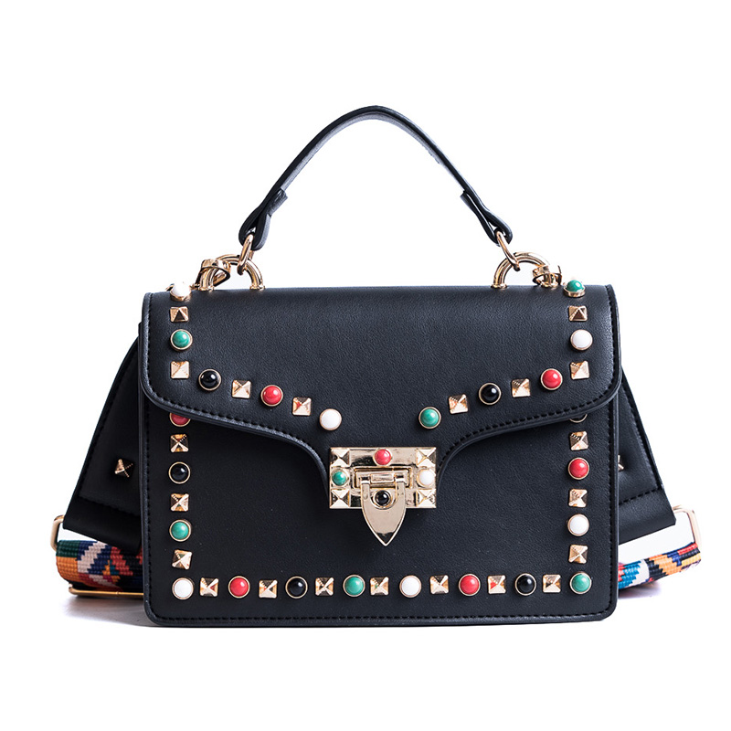 Women Brand Shoulder Bag Fashion Colorful Rivet Small Black Crossbody Messenger Bags Color Straps Wide Handbags High Quality 2017 fashion all match retro split leather women bag top grade small shoulder bags multilayer mini chain women messenger bags