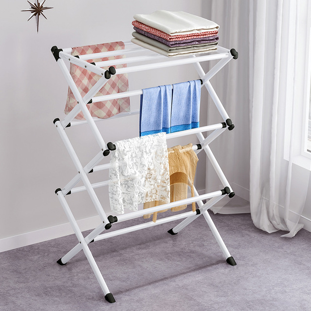 Simple Metal Coat Rack Folding Paiting Iron Fashion Clothing Drying Rack Towel Shelf Detachable Portable Home Storage Rack 2