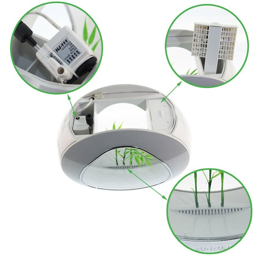 Mini aquarium aquarium aquarium poisson bol aquarium réservoir 110 V-220 V/USB LED éclairage vient aérobie système de filtration intégration - 6