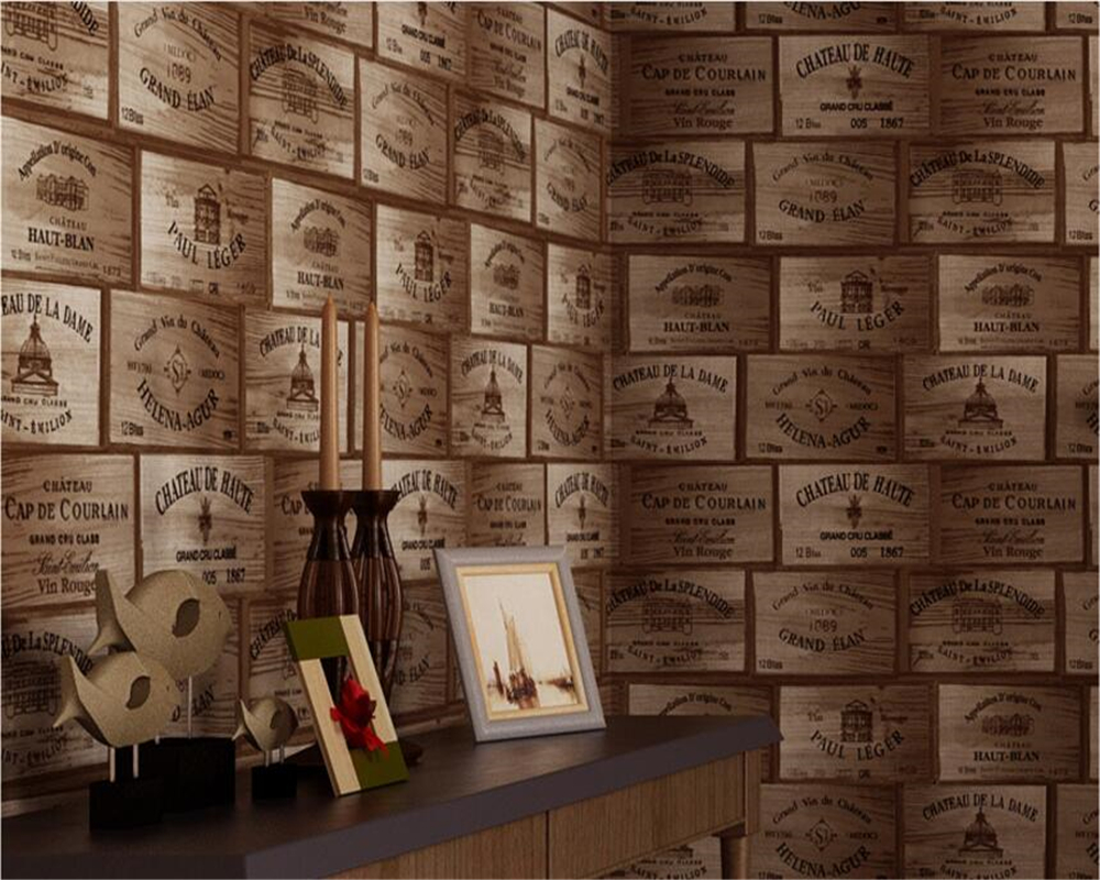 Beibehang Papel De Parede American Countryside Wooden Board Bubble Pattern Vintage Red Wine Wallpaper Background 3d Wallpaper