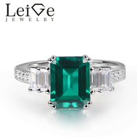 Leige Jewelry Lab Emerald Ring Emerald Cut Prong Setting 925 Sterling Silver for Women Engagement Ring May Birthstone
