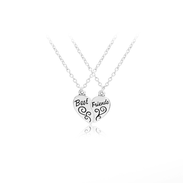 alibaba suppliers spliced double pendant couple wholesale half heart showroom broken necklace