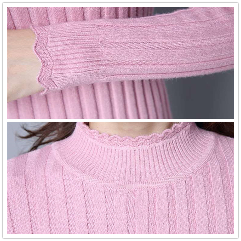 2018 New Autumn winter Women Knitted Sweaters Pullovers Turtleneck Long Sleeve Solid Color Slim Elastic Short Sweater Women in Pullovers from Women 39 s Clothing