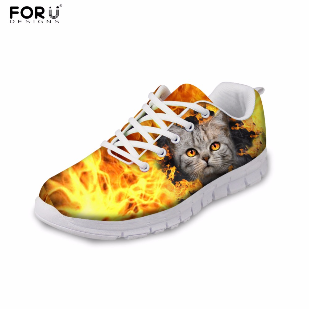 FORUDESIGNS Cool Fire Design Women Casual Sneaker Cute Animal Cat Pattern Women's Flats Shoes Female Light Weight Flat Shoes forudesigns cute animal dog cat printing air mesh flat shoes for women ladies summer casual light denim shoes female girls flats