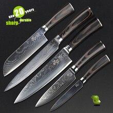 HAOYE 5 unidades cuchillos de cocina conjunto cuchillo de cocina Japonesa de acero vg10 damasco clásico mango de madera Cubiertos de ben valioso regalo NUEVO