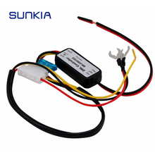 SUNKIA DRL Controller Auto Car LED Daytime Running Light Relay Harness Dimmer On/Off 12-18V Fog