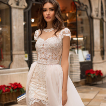 Smileven Wedding Dress Cap Sleeve Lace Applique Luxurious Bridal Detachable Train Champagne Tulle Beach Gown