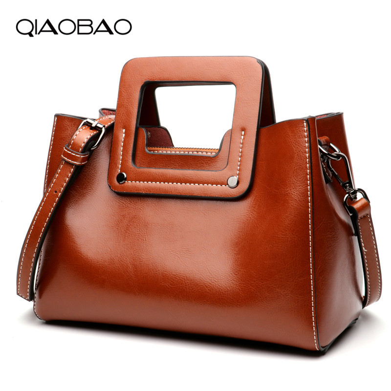 QIAOBAO Women Bag Big Luxury Elegant Fashion Handle Bags Cowhide Bag Women Designer Handbags 100% Genuine Leather Female Bag qiaobao women general genuine leather handbags tide europe fashion first layer of cowhide women bag hand diagonal cross package