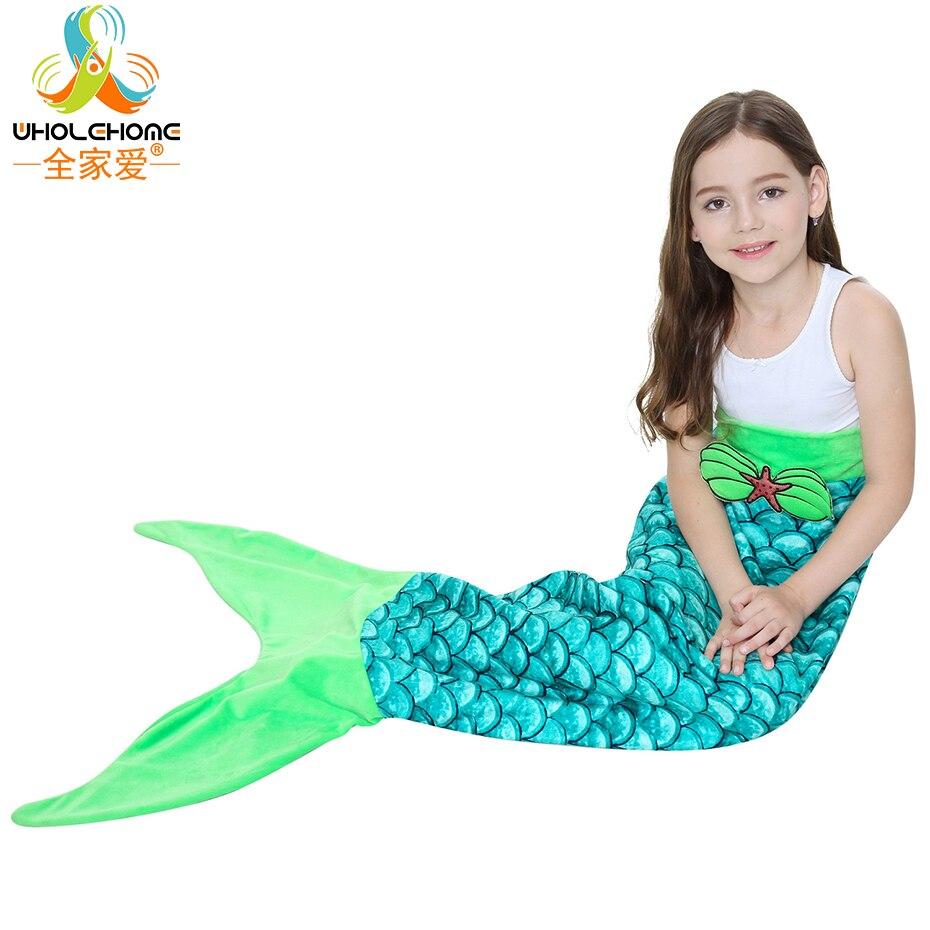 Comfy Fleece Kids Mermaid Blanket Colorful Wave Pattern Mermaid