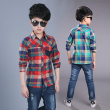 New Design Baby Boys Spring Autumn Blouse School Long Sleeve Casual Plaid Turn down Collar Top
