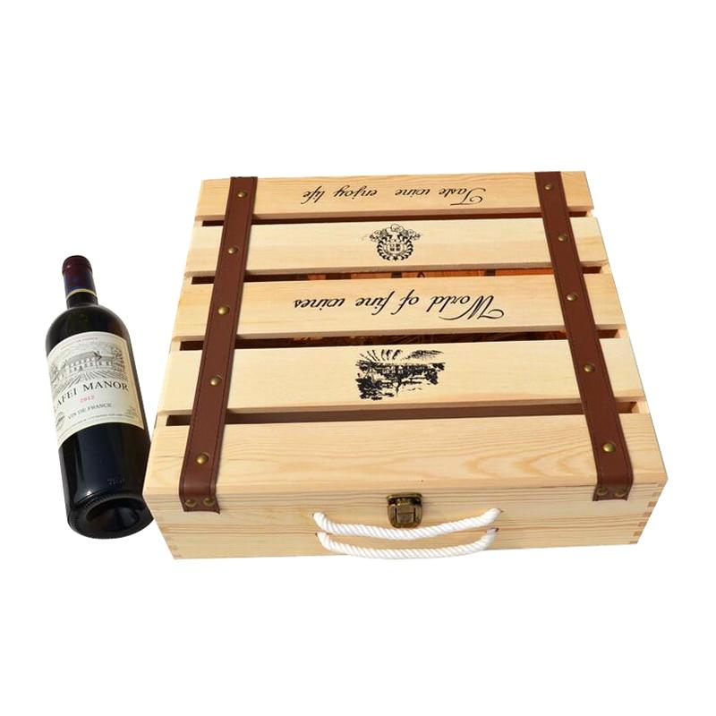 fabricantes de encargo al por mayor caja de vino de madera montado seis de madera del