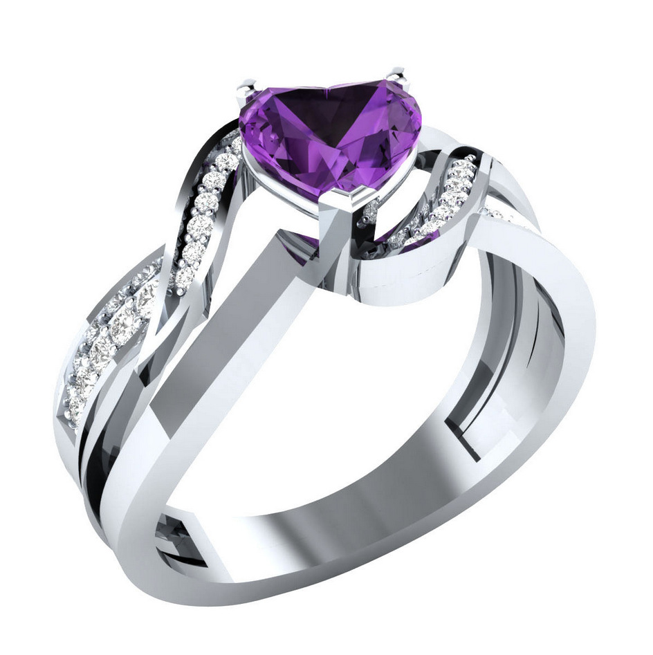 Huitan Unique Heart Ring For Women Trendy Eternal Love Band With Cute Shaped Clear Stone Prong Setting Romantic