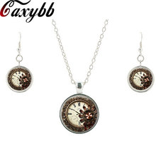Beautiful flowers necklace earring Fashion Steampunk Necklaces Clock Watch Glass Cabochon Pendant Necklaces Jewelry sets