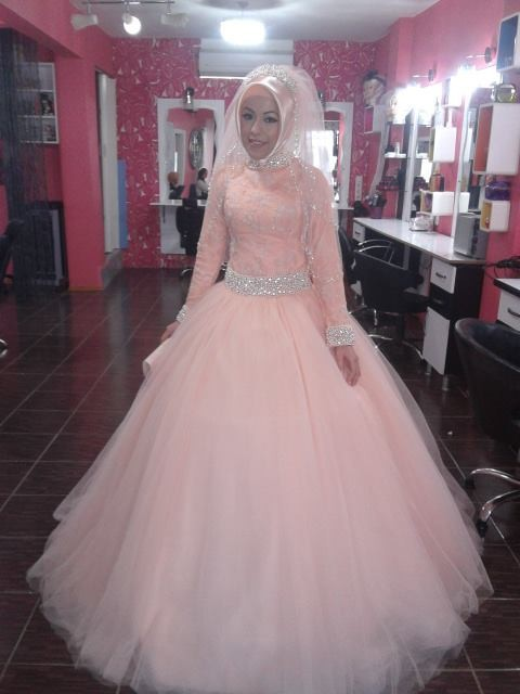 Blush Pink Vintage Long Sleeve Muslim Wedding Dresses Lace Arab Ic Bridal Gowns Custom Plus Vestidos