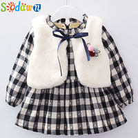 Sodawn 2017 Autumn Winter New Girls Clothing Set Plus Velvet Plaid Dress Vest 2Pcs Children Clothes