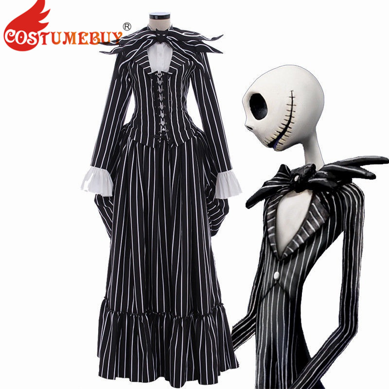 Costumebuy The Nightmare Before Christmas Cosplay Jack Skellington Costume Black Stripe Suit Jacket Party Halloween Dress