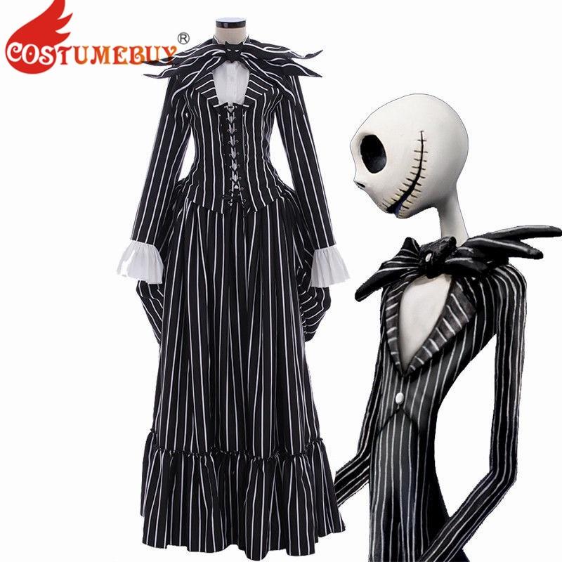 Costume le cauchemar avant noël Cosplay Jack Skellington Costume noir rayure Costume veste fête Halloween robe unisexe