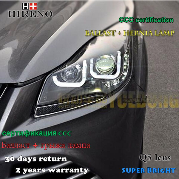 Hireno Headlamp for 2013-2015 Ford KUGA Escape SE Headlight Assembly LED DRL Angel Lens Double Beam HID Xenon 2pcs