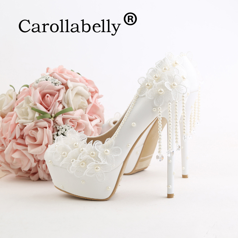 Carollabelly pearl white fashion women's wedding pumps lace high heel platform wedding shoes gentle women bridal shoes carollabelly sweet flower women pumps high heels lace platform pearls rhinestone wedding shoes bride dress shoes summer sandals