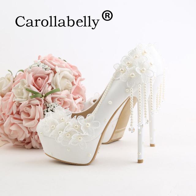 Carollabelly pearl white fashion women's wedding pumps lace high heel platform wedding shoes gentle women bridal shoes