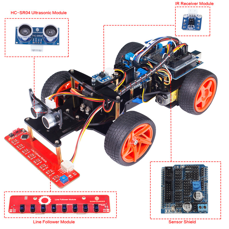 SunFounder Remote Control Robot Smart Car Kit V2.0 for Arduino Uno R3 Ultrasonic Line Follower Sensor IR Receiver self tie shoulder ruffle trim floral jumpsuit