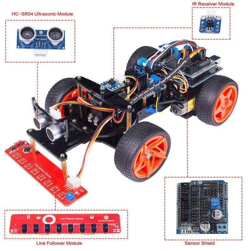 SunFounder Télécommande Robot Kit De Voiture Intelligente V2.0 pour Arduino Uno R3 Ultrasonique Suiveur de Ligne Capteur Récepteur IR