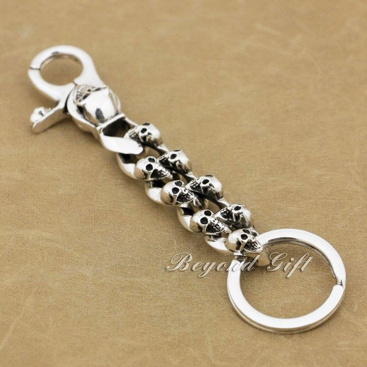Punk Fashion Waist Pendant Solid 925 Sterling Silver Cool Men s Biker Skull Keychain  Keyring 9N005KC 7304c6df6