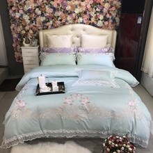 Luxury Light Blue Purple Pink Pastoral Flower Embroidery 80S Egyptian cotton Bedding Set Lace Duvet cover Bed sheet Pillowcases
