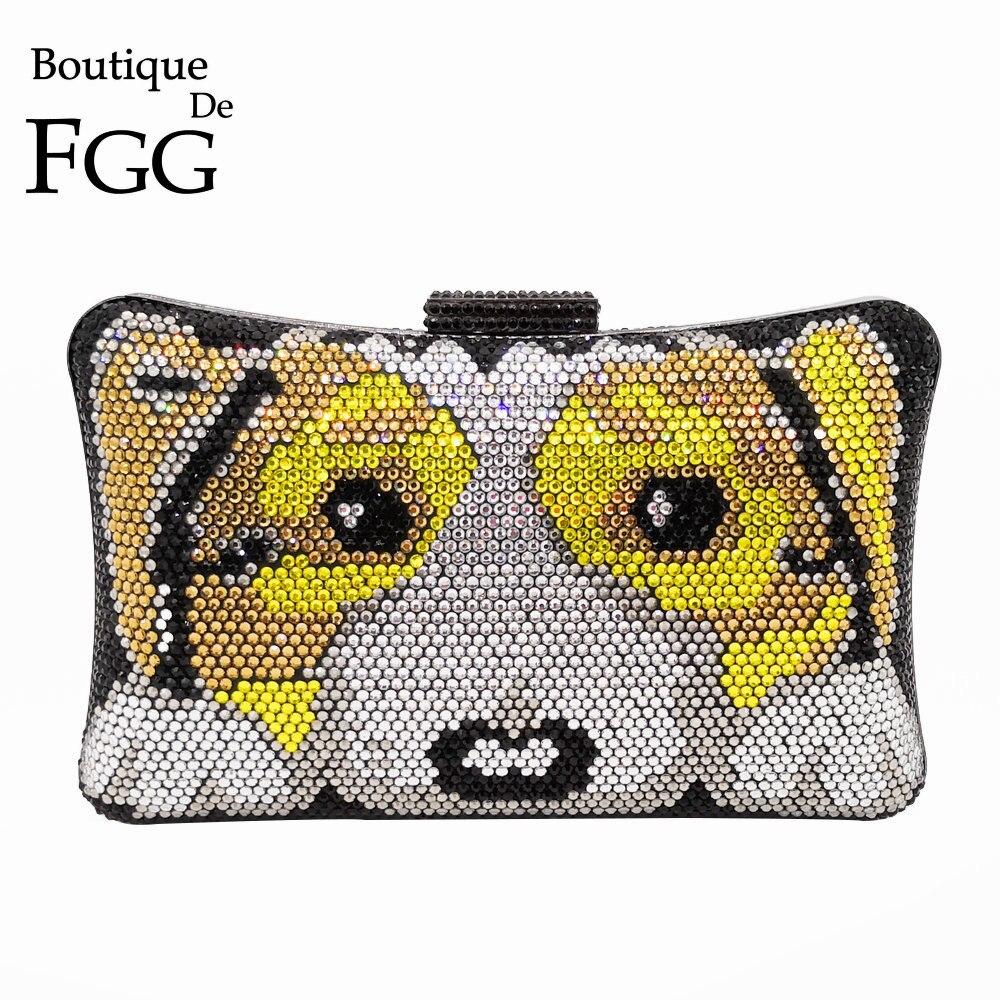 Boutique De FGG Fashion 3D Dog Puppy Pattern Women Crystal Clutch Evening Bags Hard Case Metal Wedding Party Prom Handbag Purse