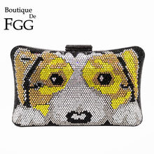 Boutique De FGG Mode 3D Hond Puppy Patroon Vrouwen Kristal Koppeling Avondtassen Hard Case Metal Wedding Party Prom Handtas portemonnee(China)