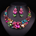 Bridal Jewelry Sets Wedding Necklace Earring For Brides Party Accessories Gold Plated Crystal  Decoration Christmas Gift Women