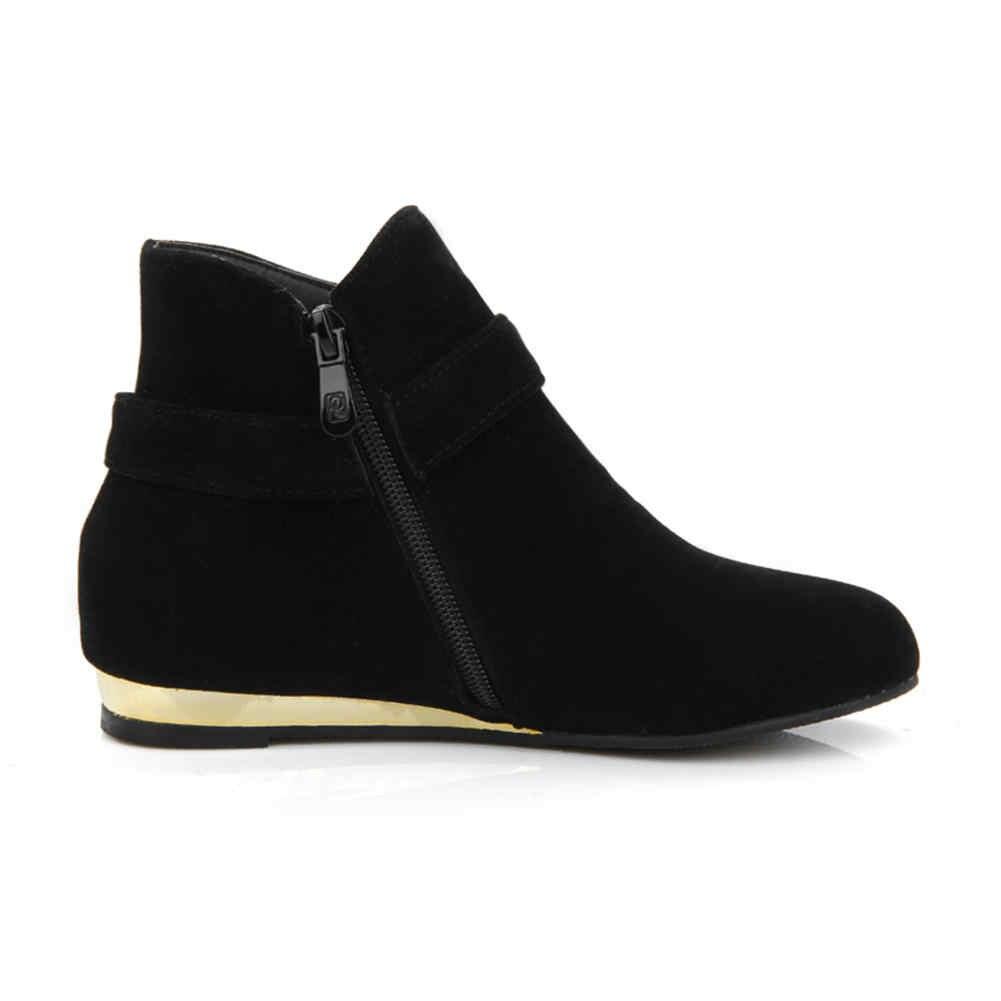 BONJOMARISA 2019 Kış Büyük Boy 32-43 Katı Siyah Düz yarım çizmeler Kadın Düşük Topuklu Sıcak Kürk Çizmeler Kadın rahat ayakkabılar kadın