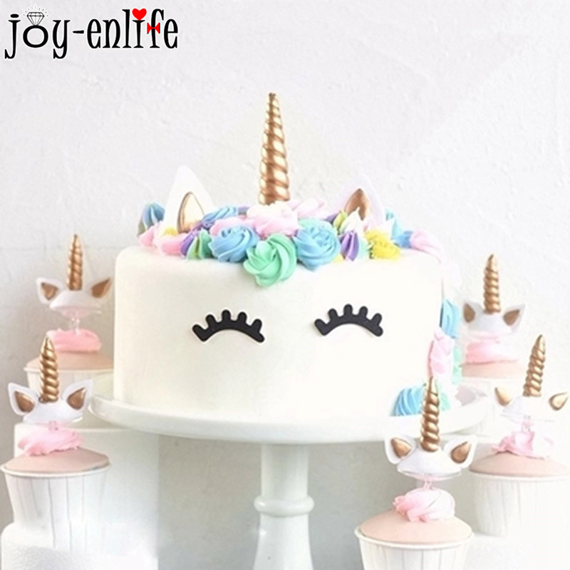 1set Unicorn Party Creative Unicornio Wings Cake Toppers For Decor Kids 1st Birthday Sparkly Colorful Cupcake Topper In Decorating Supplies