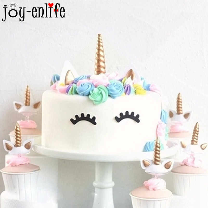 1set Unicorn Party Creative Unicornio Wings Cake Toppers For Decor Kids 1st Birthday Sparkly Colorful