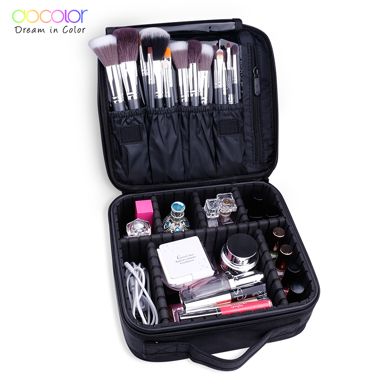 Docolor Women Fashion Cosmetic Bag Travel Makeup Organizer Professional Make Up Box Cosmetics Pouch Bags Beauty Case For Makeup 2018 travel cosmetic bag packing cubes print makeup bags beauty case two tier cosmetics box waterproof organizer bag