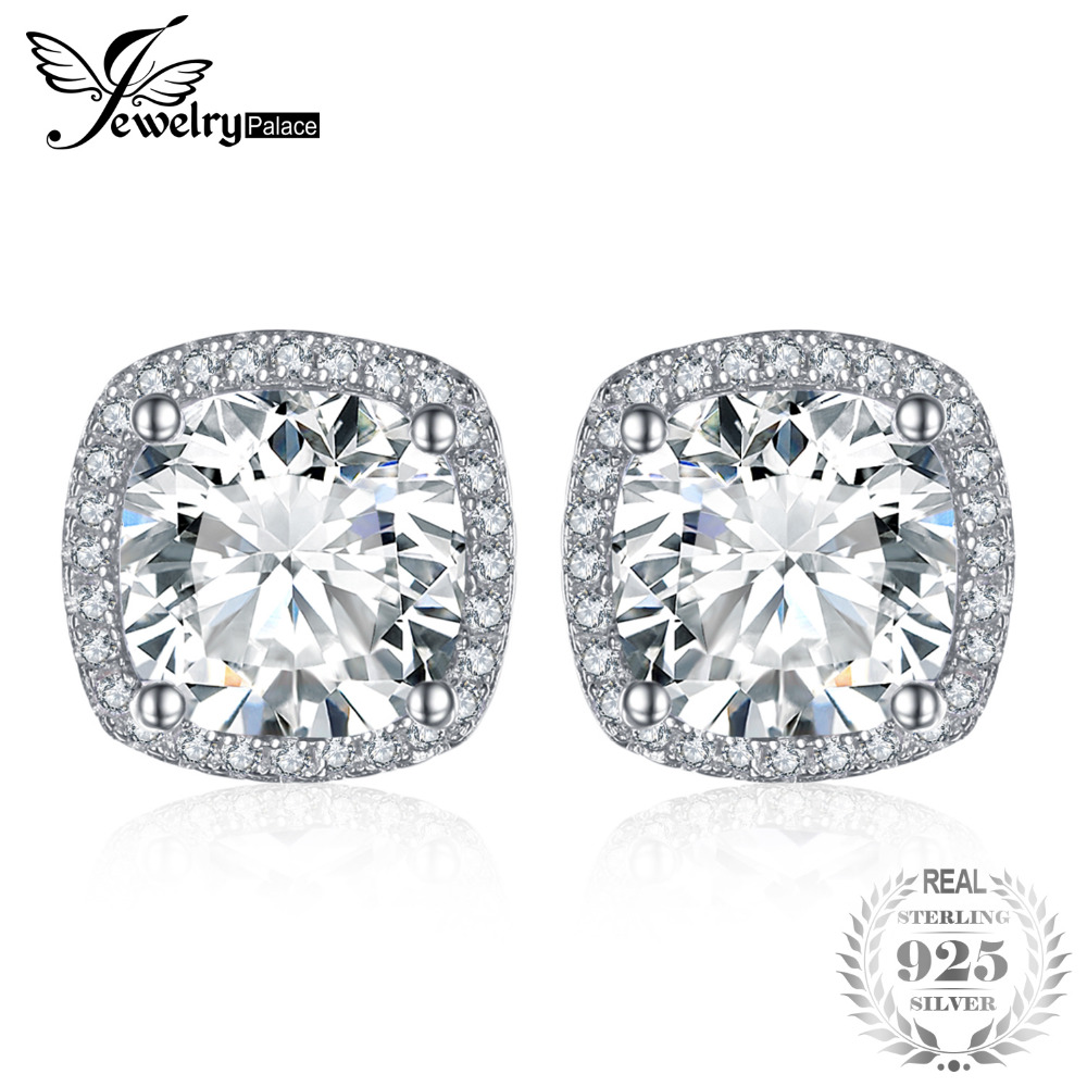8546549e6 JewelryPalace Cushion 5ct Halo Stud Earrings 925 Sterling Silver Jewelry  Wedding Earring for Women Fine Jewelry