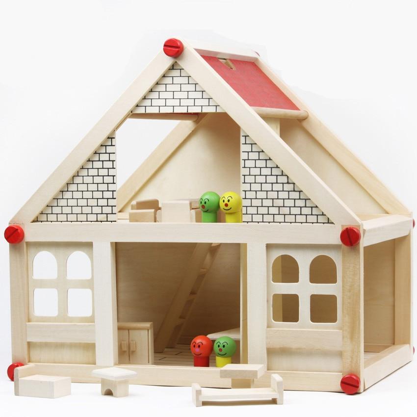 ФОТО Baby Toys Kids Assemble Villanette Wooden Toys Model Building Kits My Small Villa Insert Blocks Baby Birthday Gift