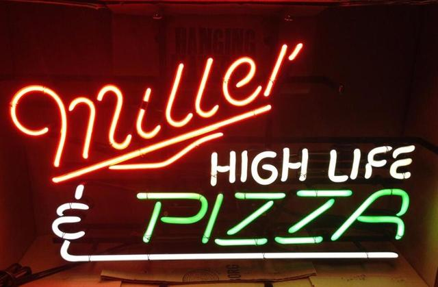 Custom pizza high life miller Glass Neon Light Sign Beer Bar