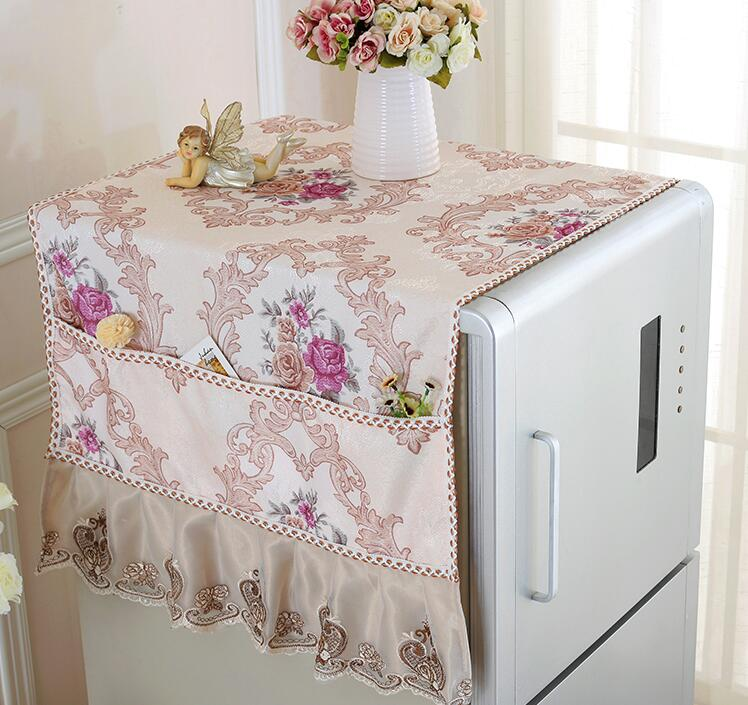 Fyjafon Refrigerator Covers Printed Kitchen Dustproof Covers Pastoral Dust Cover With Storage Bag 55*145/70*170