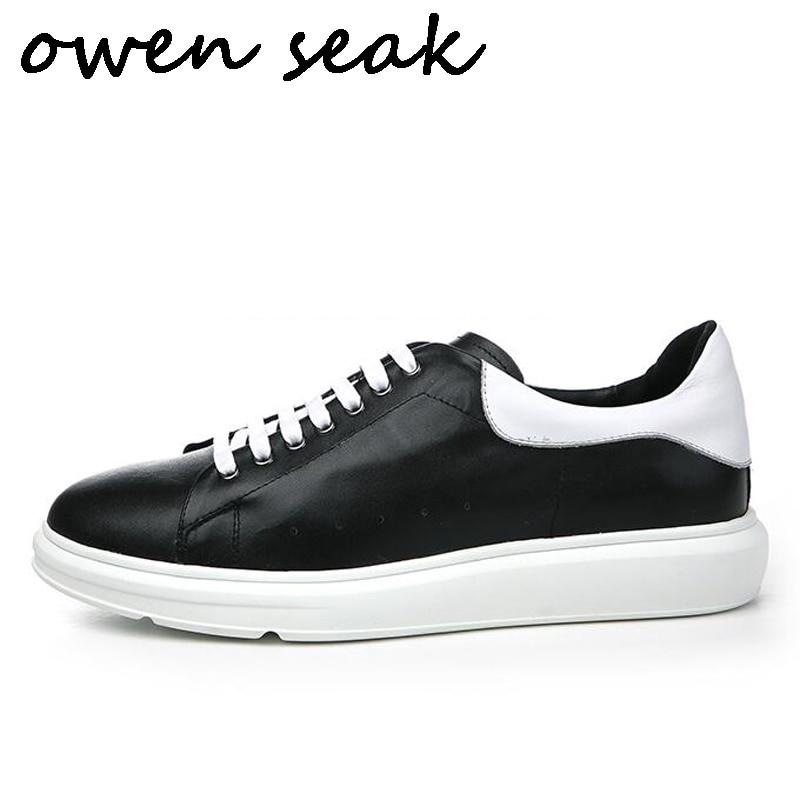 Owen Seak Men Casual Shoes Lace Up Luxury Men Sneaker Trainers Genuine Leather Adult Autumn Brand Flats Black White Shoes