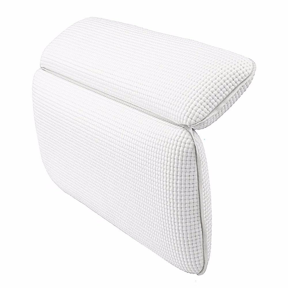 Non Slip Bath Pillow Waterproof Spa Bathtub Pillow Mat Comfort Bath Pillow for Neck Rest Back Support (White)