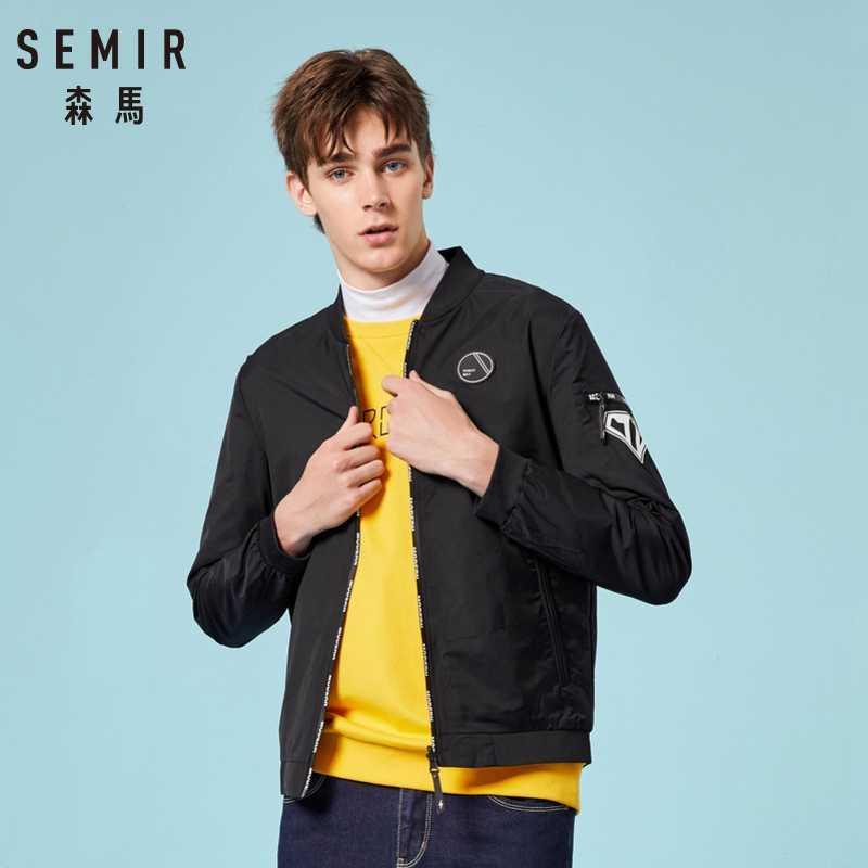 SEMIR الرجال عكسها سترة مع الوقوف طوق الرجال البيسبول سترة Bomber سترة مع البريدي الذكور موضة ملابس الشارع الشهير الملابس