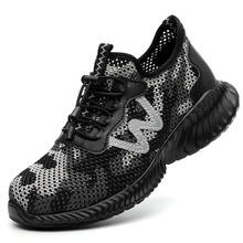 2019 Breathable Mesh Men Steel Toe Safety  Anti-piercing Work Shoes Comfortable Industrial Sneakers Puncture Proof Boots For Men