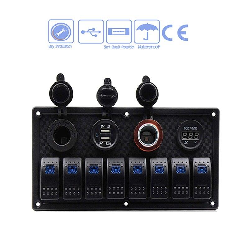 8 Gang кулисный переключатель панель автоматический выключатель защита от перегрузки вольтметр 12 В в В 24 DC USB зарядное устройство порты и разъ...
